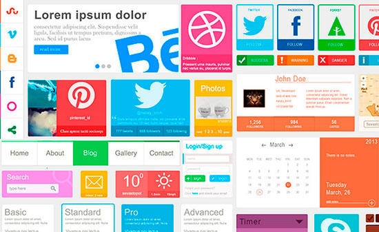 Colorful Flat GUI Set